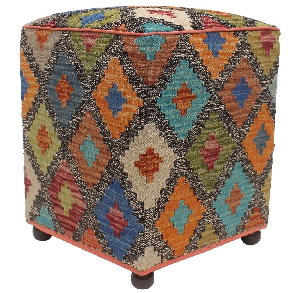 Tribal Yoshiko Handmade Kilim Upholstered Ottoman (15