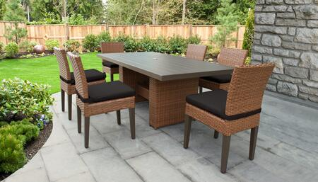 Laguna Collection LAGUNA-DTREC-KIT-6C-BLACK Patio Dining Set With 1 Table  6 Side Chairs - Wheat and Black