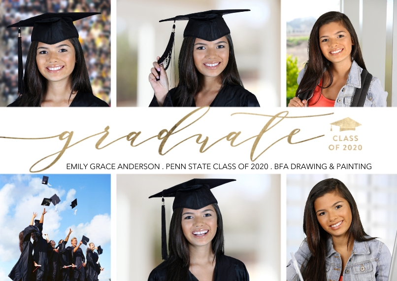 Graduation Announcements Flat Matte Photo Paper Cards with Envelopes, 5x7, Card & Stationery -Class of 2020 Modern Script by Tumbalina