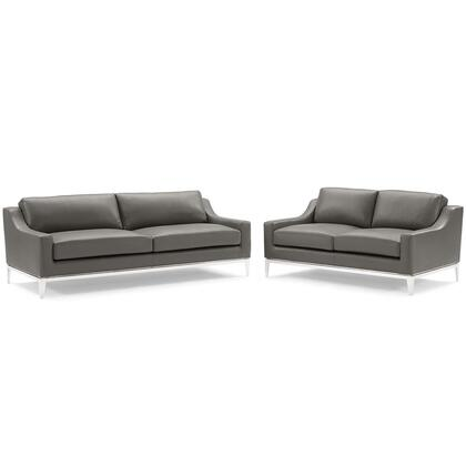 Harness Collection EEI-4196-GRY-SET Stainless Steel Base Leather Sofa and Loveseat Set in Gray