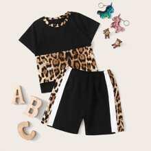 Kleinkind Maedchen T-Shirt mit Leopard Muster und Shorts