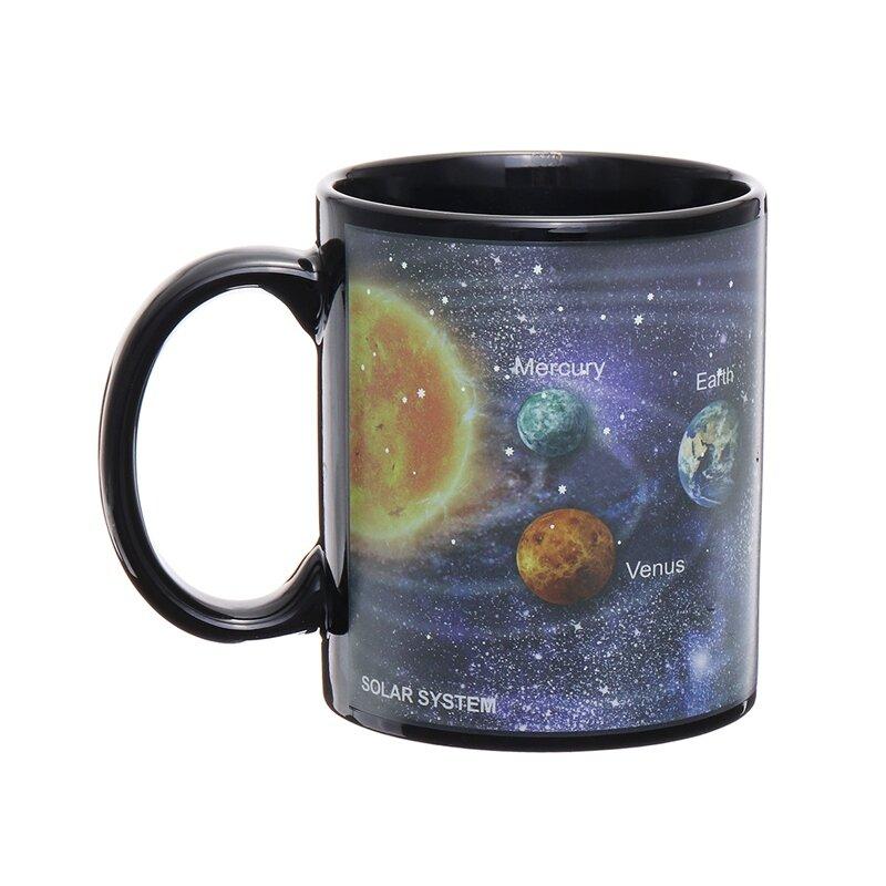 Solar System Starry Sky Color Changing Magic Heat Sensitive Cup Coffee Tea Milk Cup Ceramic Cup