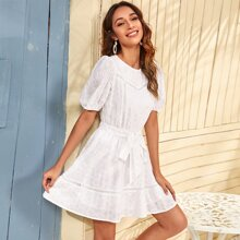 Puff Sleeve Lace Insert Self Belted Schiffy Dress