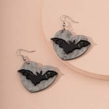 Bat Decor Heart Shaped Drop Earrings