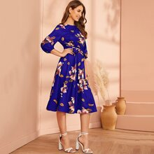 Lantern Sleeve Self Belted Floral Print Dress