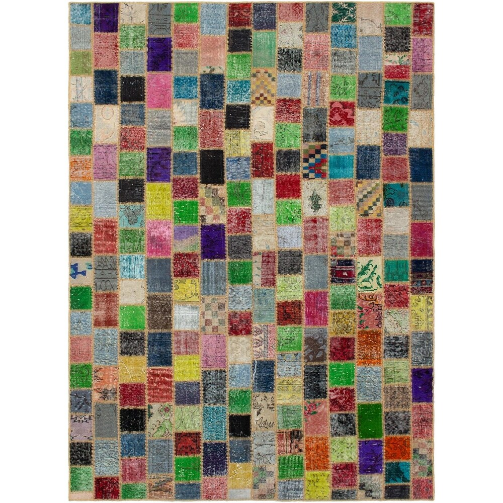 ECARPETGALLERY Hand-knotted Color Transition Patchwork Multi Wool Rug - 6'6 x 9'8 (Multi Color/ Multi Color - 6'6 x 9'8)