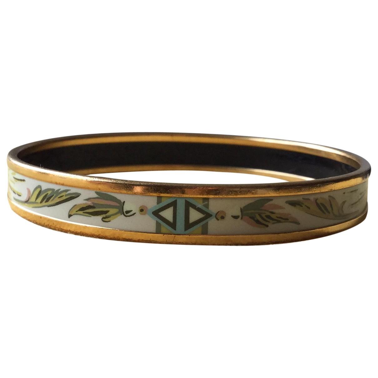 Hermes - Bracelet Bracelet Email pour femme en plaque or - vert