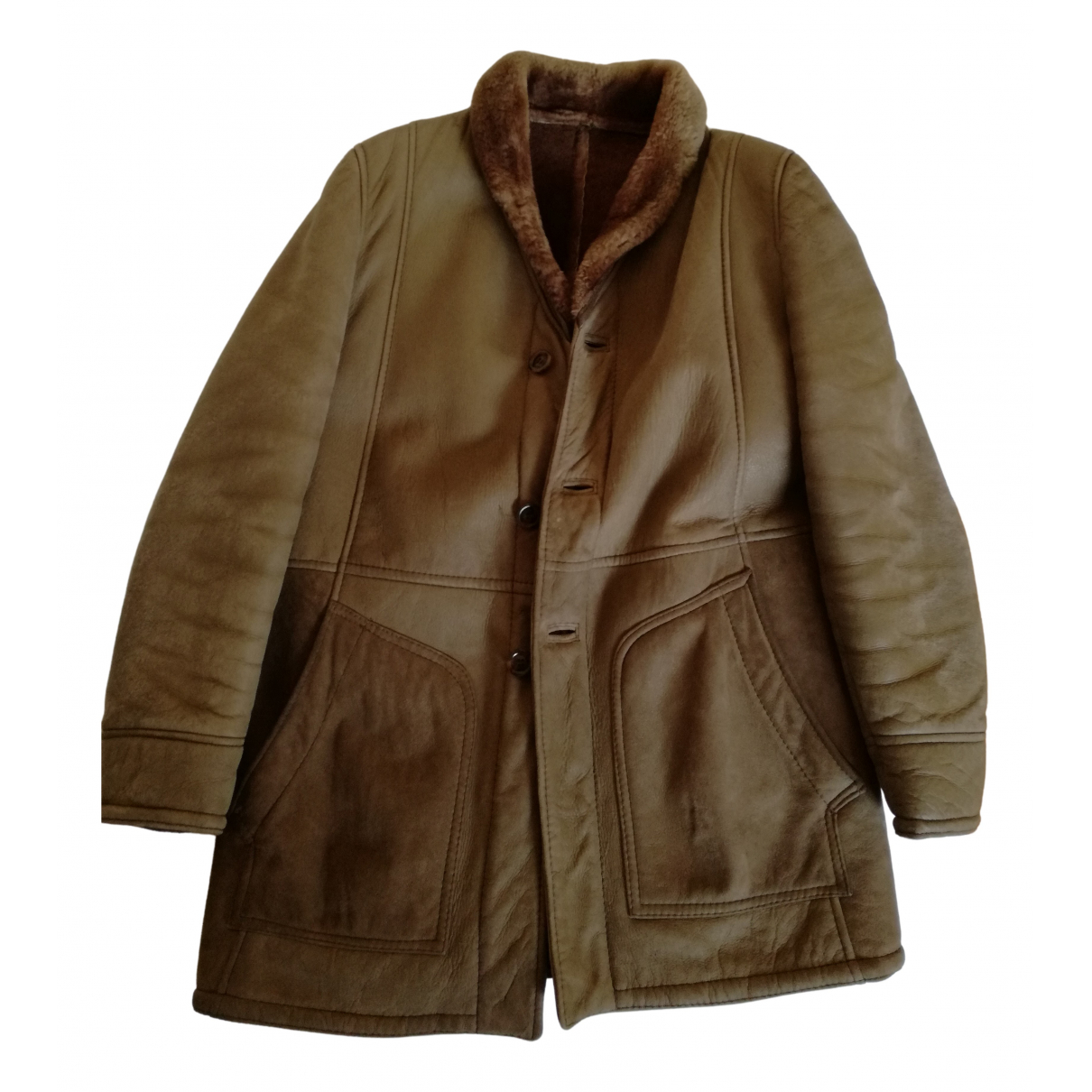 Non Signé / Unsigned N Brown coat for Women 50-52 IT