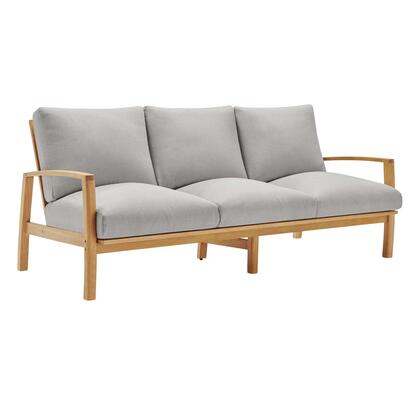 Orlean Collection EEI-3696-NAT-LGR  Outdoor Patio Eucalyptus Wood Sofa with FSC Certified Eucalyptus Wood  Organic Design and All-Weather Cushions in