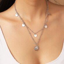 Mehrschichtige Halskette mit Sonne & Scheibe Anhaenger