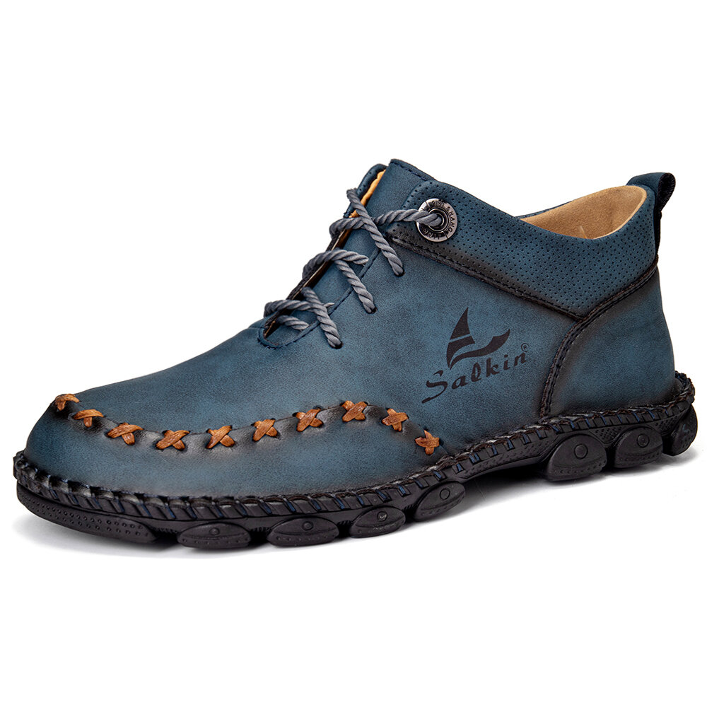 Men Hand Stitching Microfiber Leather Soft Lace Up Ankle Boots