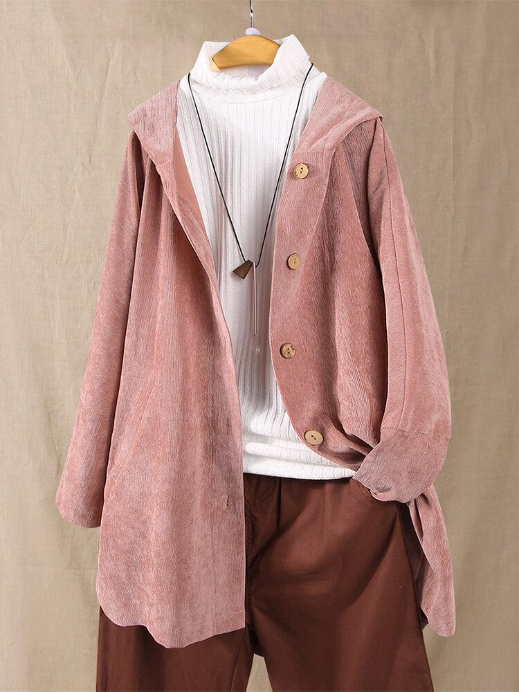 Corduroy Solid Color Button Plus Size Hooded Thin Coat