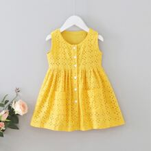 Toddler Girls Eyelet Embroidery Button Front A-line Dress