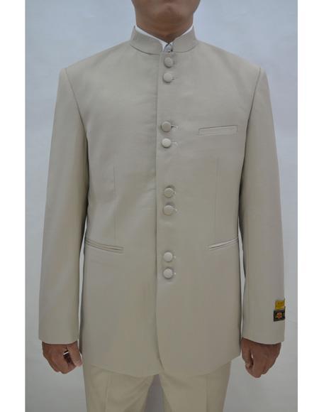 Marriage Groom Wedding Indian Nehru Suit Jacket Mens Blazer Tan