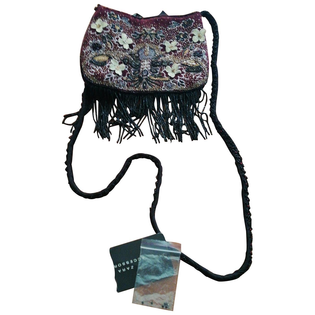 Bolsos clutch en Algodon Burdeos Zara