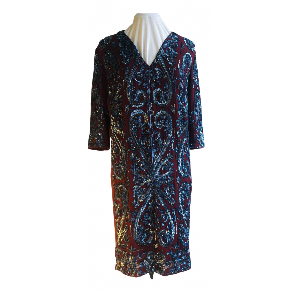 Antik Batik \N Kleid in  Bordeauxrot Mit Pailletten