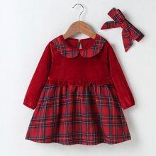 Baby Girl Velvet Tartan Panel Smock Dress & Headband