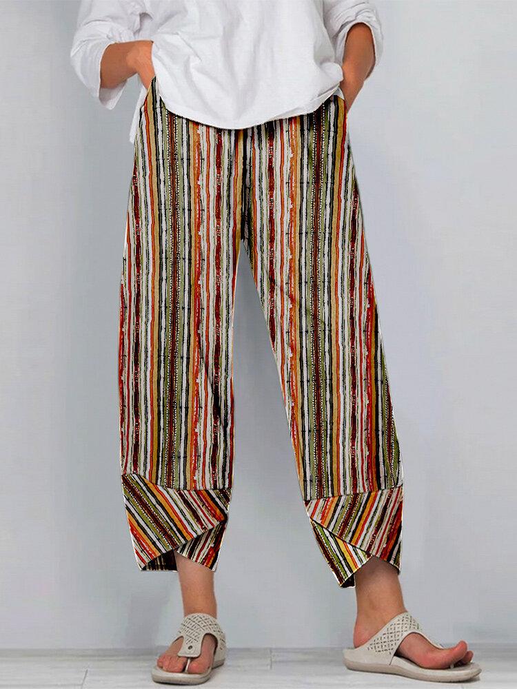 Striped Print Elastic Waist Plus Size Casual Pants for Women