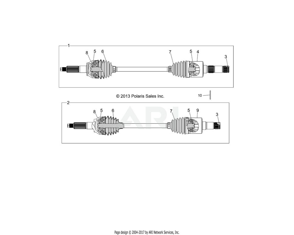 Polaris OEM 1333200 ASM., DRIVE SHAFT, REAR, LH | [INCL. 3-8]
