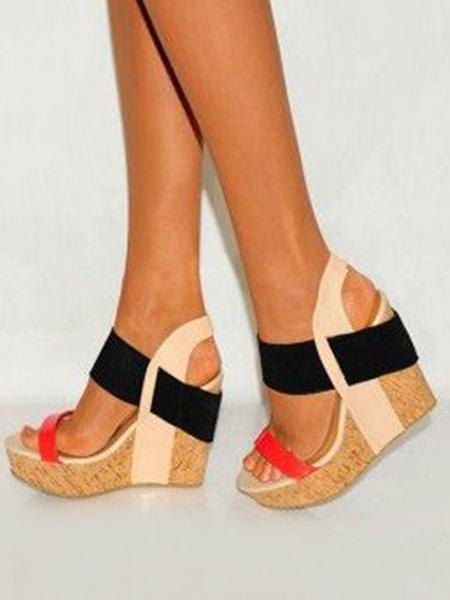 Milanoo Women Wedge Sandals Plus Size Platform Open Toe Patchwork Heels Sandal Shoes