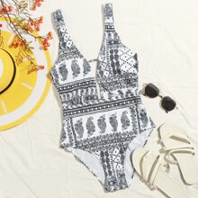 Tribal Plunging One Piece Swimsuit
