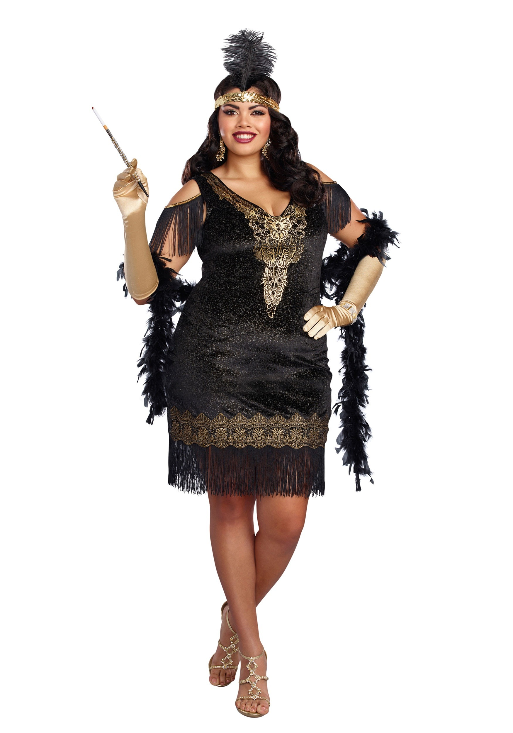 Plus Size Womens Swanky Flapper Costume | Decade Costume