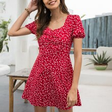 Confetti Heart Sweetheart Ruched Bust Milkmaid Dress