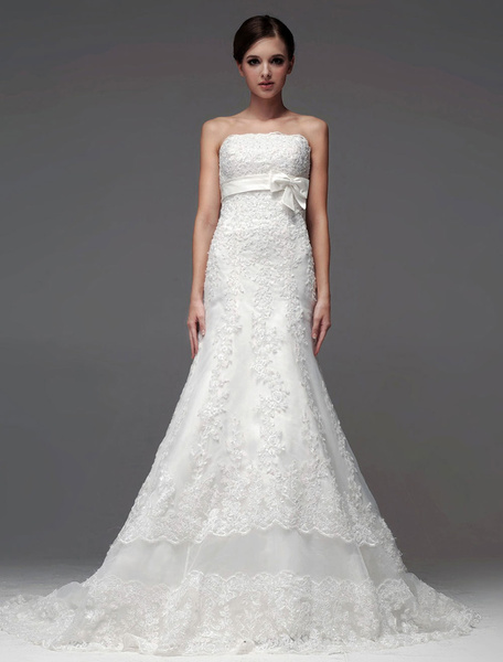 Milanoo Elegant Ivory Strapless Lace A-line Bride's Wedding Dress