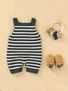 Baby Boy Pocket Front Striped Sweater Romper