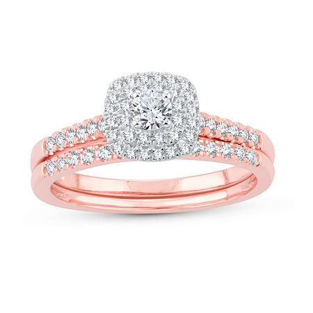 Womens 1/2 CT. T.W. Genuine White Diamond 10K Rose Gold Bridal Set, 9 , No Color Family