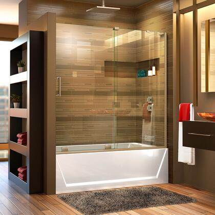 SHDR-1960580R-04 Mirage-X 56-60 W X 58 H Frameless Sliding Tub Door In Brushed Nickel; Right Wall