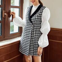 Vestido blazer tweed con boton delantero de manga farol de cuello esmoquin