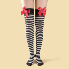 Christmas Striped Over The Knee Socks