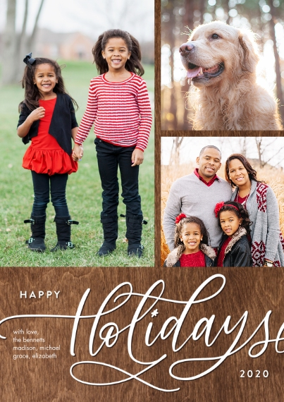 Christmas Photo Cards 5x7 Cards, Premium Cardstock 120lb with Scalloped Corners, Card & Stationery -2020 Holiday Gold Script Memories by Tumbalina
