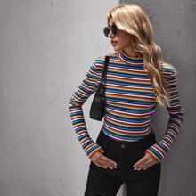Mock-neck Rainbow Striped Tee