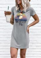 Beer Me O-Neck Mini Dress - Gray