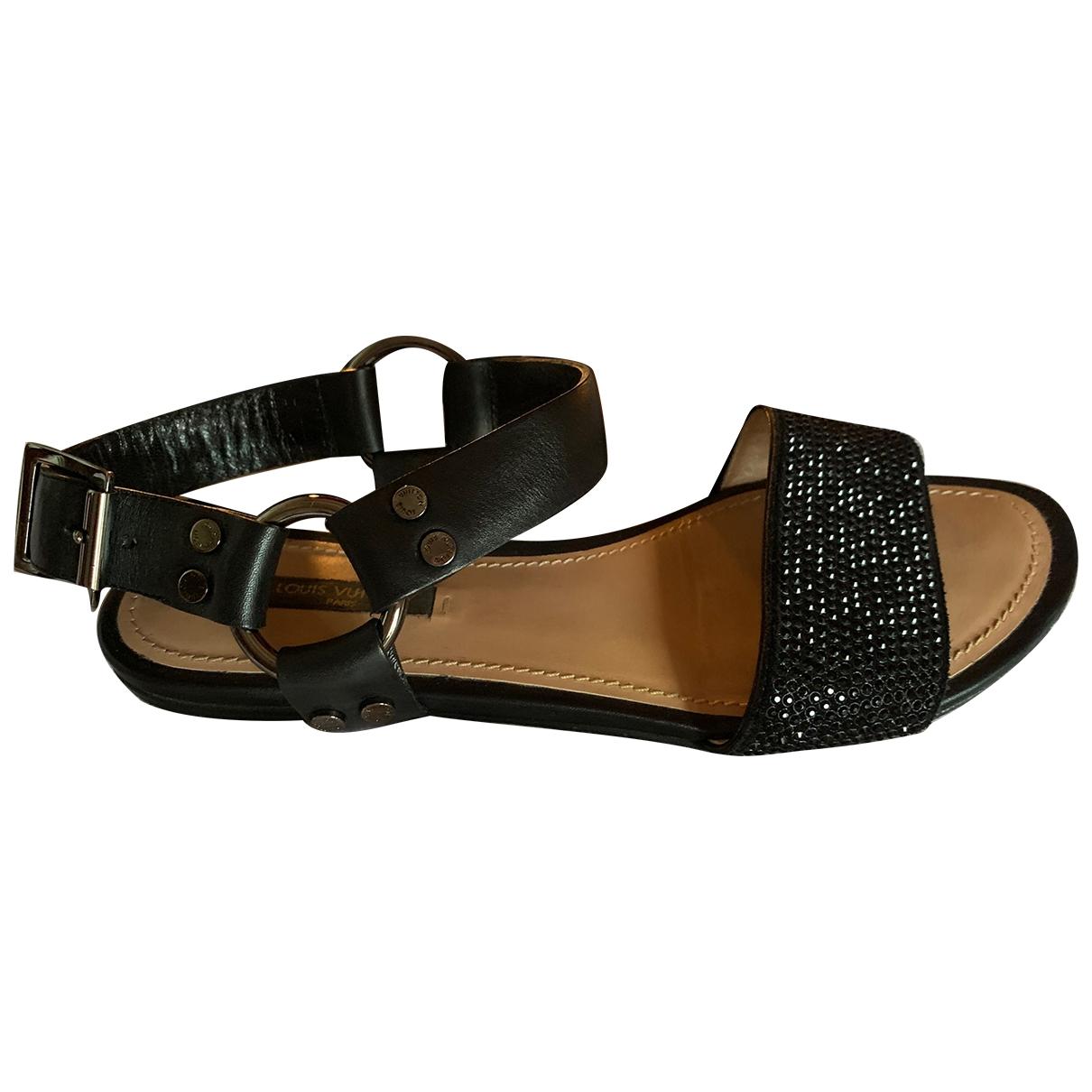 Louis Vuitton \N Black Leather Sandals for Women 37.5 EU