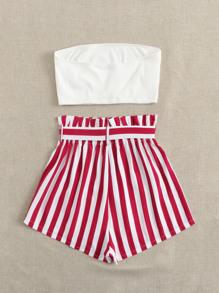 Rib-knit Bandeau Top & Paperbag Waist Striped Shorts Set