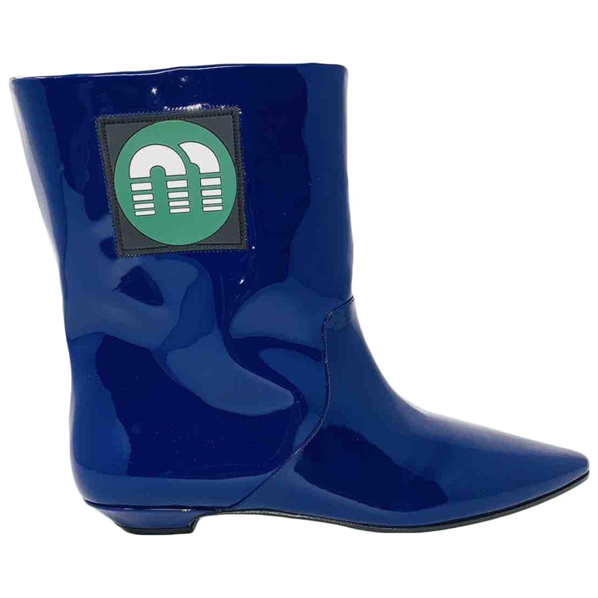 Miu Miu - Boots   pour femme en cuir verni - bleu