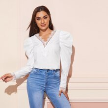 Double V-neck Embroidery Mesh Detail Gigot Sleeve Top