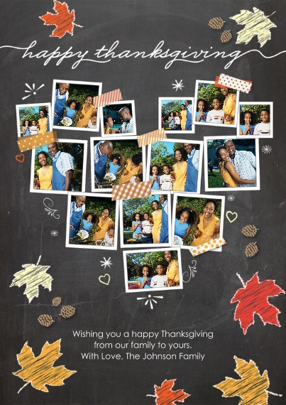 Thanksgiving Photo Cards 5x7 Cards, Premium Cardstock 120lb with Scalloped Corners, Card & Stationery -Thanksgiving Snapshot Heart Chalkboard