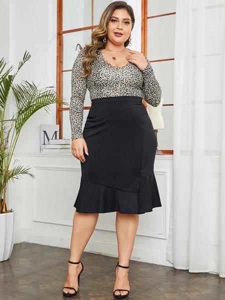 Yoins Plus Size Black Flounced Hem Skirt