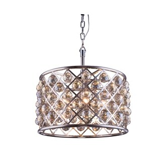 Royce Edge 6-Light Polished Nickel Pendant (polished nickel (royal cut golden teak crystals))