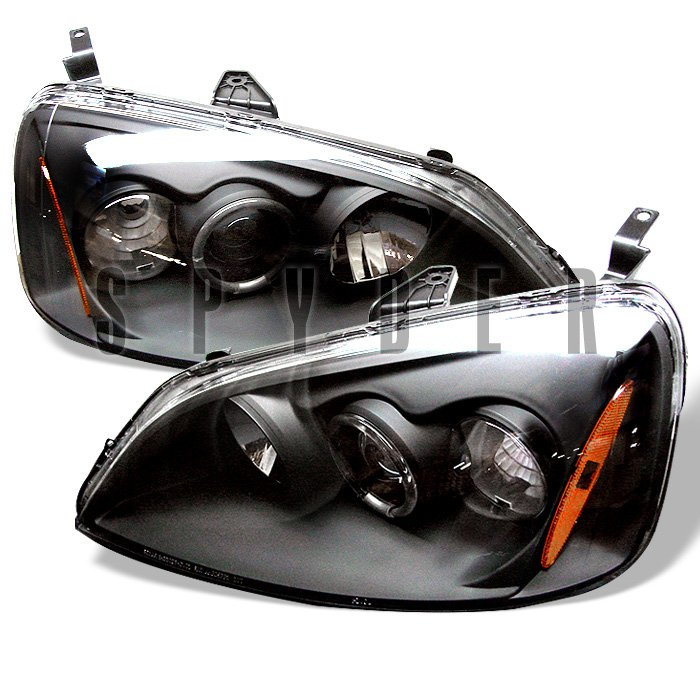 Spyder 2 4Dr Non Si Model Halo Black Projector HeadLights Honda Civic 01-03