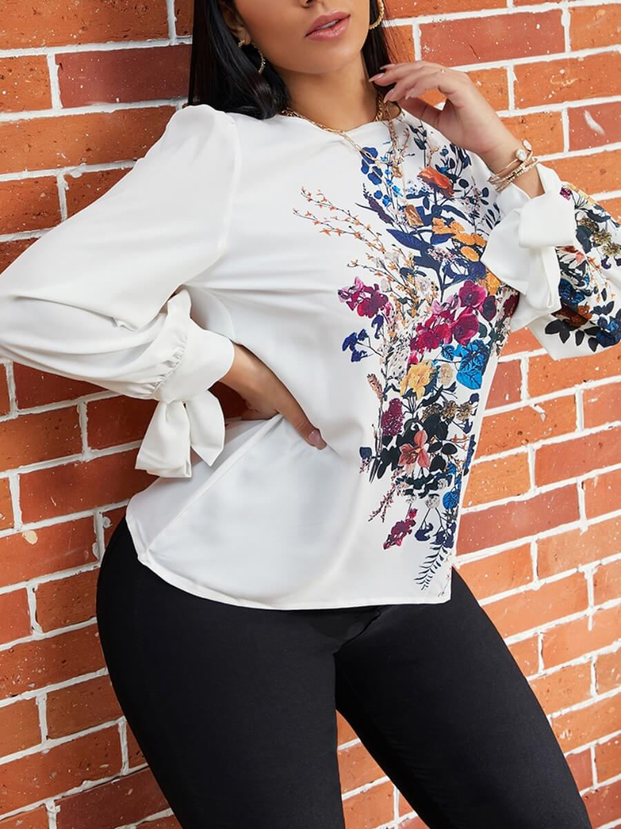 LW Lovely Casual O Neck Floral White Blouse