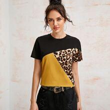 T-Shirt mit Leopard Muster Einsatz