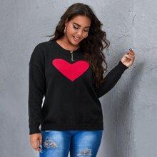 Plus Drop Shoulder Heart Pattern Sweater