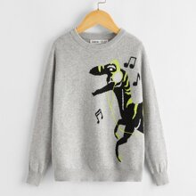 Pullover mit Karikatur Muster