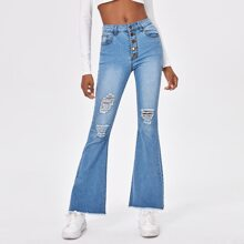 Button Front Raw Hem Ripped Jeans