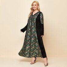 Plus Floral Print Contrast Lace Velvet Dress